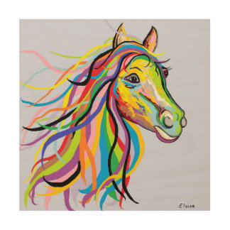 Horse of a Different Color Wood Print