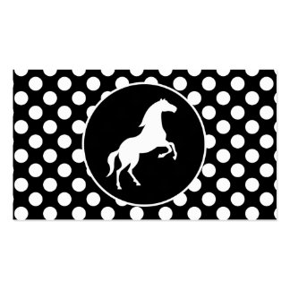 Horse on Black and White Polka Dots Business Card Template