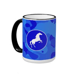 Horse on Blue Camo; Camouflage Mugs