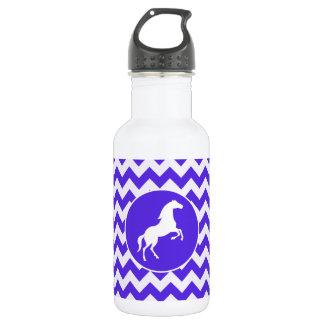 Horse on Blue Violet Chevron; Equestrian 532 Ml Water Bottle