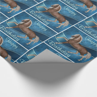 Horse On Blue With Happy Birthday Wrapping Paper