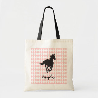 Horse on Diamond Pattern Template Budget Tote Bag