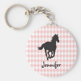 Horse on Diamond Pattern Template Key Chain