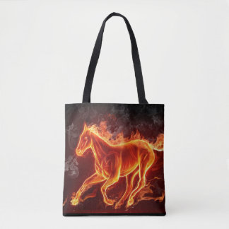 horse on fire tote bag