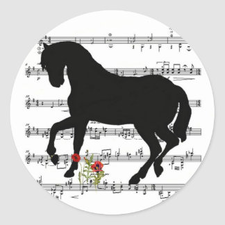 Horse on Sheet Music Round Sticker