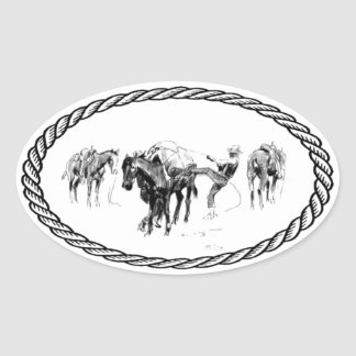 Horse Packing Euro Style Oval Sticker