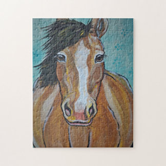Horse Painting Jigsaw Puzzle Aqua Tan Difficult