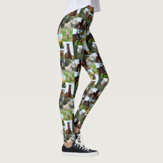 Horse Photo Collage, Ladies Full Print Leggings. Leggings