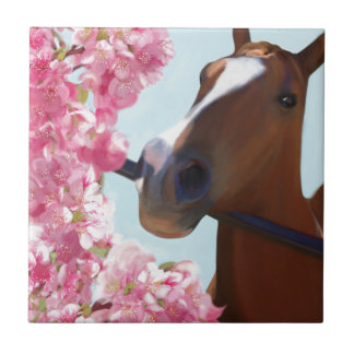 Horse Pink Blossoms Small Square Tile