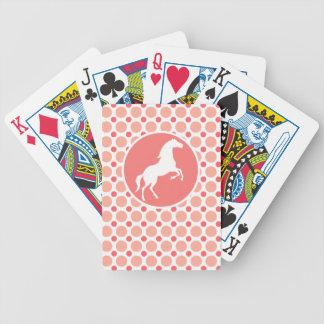 Horse; Pink & Coral Polka Dots Bicycle Playing Cards