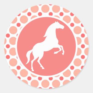 Horse; Pink & Coral Polka Dots Round Sticker