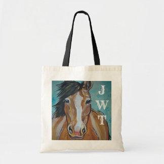 Horse Pony Art Monogrammed Aqua Tote Bag