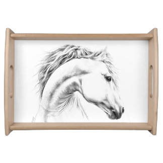 Horse portrait pencil drawing art Serving tray
