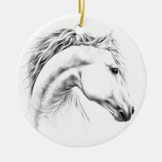 Horse portrait pencil drawing Ornament
