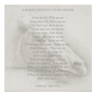 Horse Portrait Poem Petition to Owner Vintage Poster