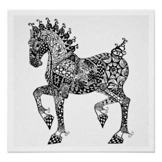 Horse Poster - Clydesdale Foal - Zen Tangle