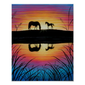Horse poster - Mare and Foal Sunrise