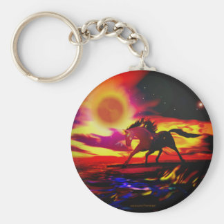 Horse Power Basic Round Button Key Ring