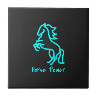 Horse Power in Blue Ceramic Tile