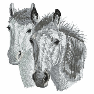 Horse Profile Pair Embroidered Hooded Sweatshirt
