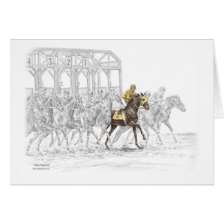 Horse Race Starting Gate Card