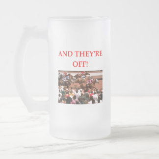 horse racing frosted glass beer mug