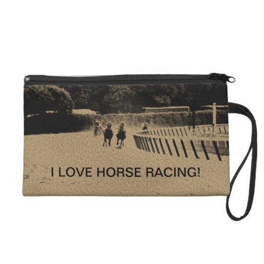 Horse Racing Muddy Track Grunge Wristlet Clutch