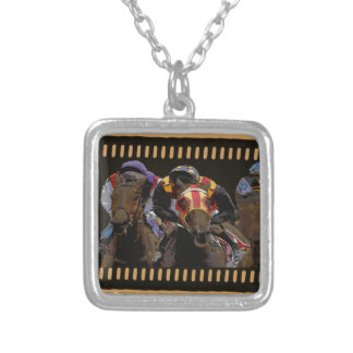 Horse Racing on Film Strip Silver Plated Necklace