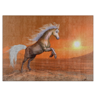 Horse rearing by sunset - 3D render Cutting Board