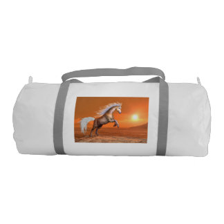 Horse rearing by sunset - 3D render Gym Bag