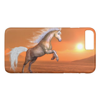 Horse rearing by sunset - 3D render iPhone 8 Plus/7 Plus Case