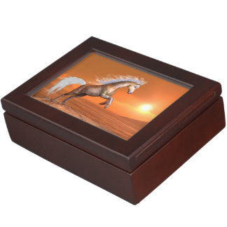Horse rearing by sunset - 3D render Keepsake Box