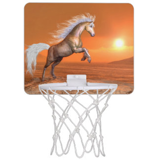 Horse rearing by sunset - 3D render Mini Basketball Hoop