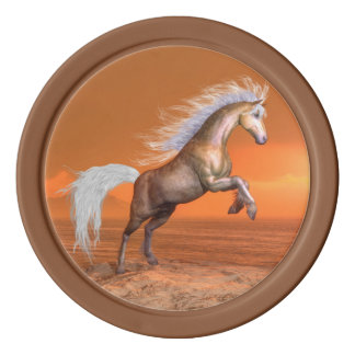 Horse rearing by sunset - 3D render Poker Chips