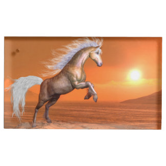 Horse rearing by sunset - 3D render Table Card Holder