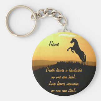 Horse Rearing Silhouette At Sunrise Basic Round Button Key Ring