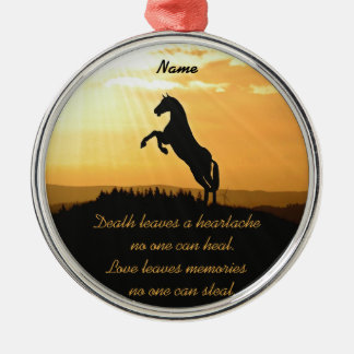 Horse Rearing Silhouette At Sunrise Silver-Colored Round Decoration