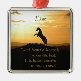 Horse Rearing Silhouette At Sunrise Silver-Colored Square Decoration