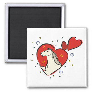 Horse Red Hearts Equine Love Magnet