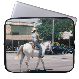 Horse Riding on South Congress Ave Laptop Sleeve