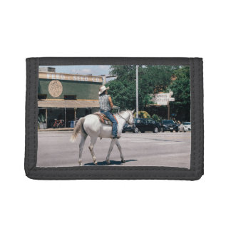 Horse Riding on South Congress Ave Tri-fold Wallet
