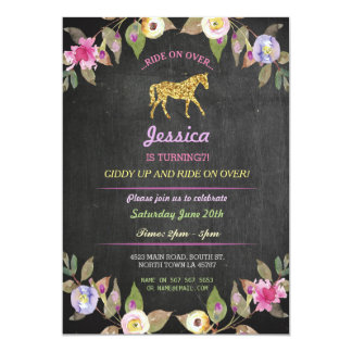 Horse Riding Party Invite Pony Chalk Invitation