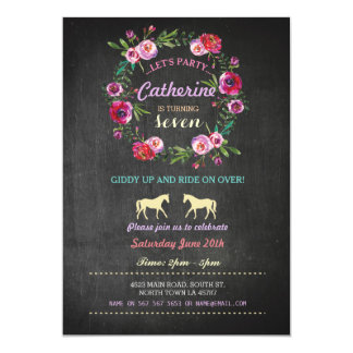 Horse Riding Party Invite Pony Pink Invitation