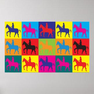 Horse Riding Pop Art Poster