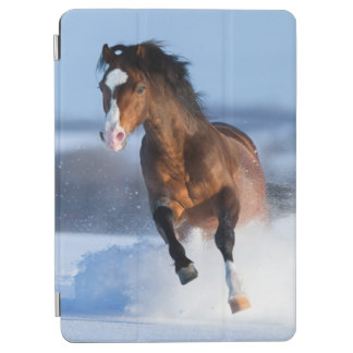 Horse running across the field in winter iPad air cover
