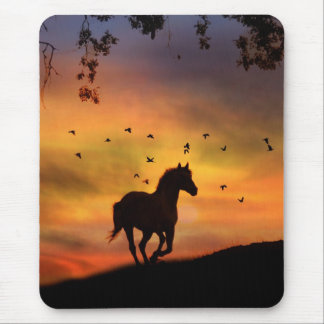 Horse Running At Sunset Mouse Pad