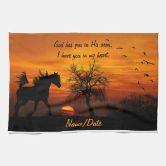 Horse Running Free at Sunset Hand Towel