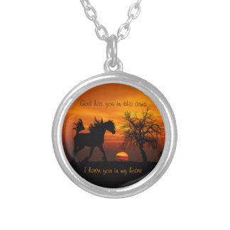 Horse Running Free at Sunset Silver Plated Necklace