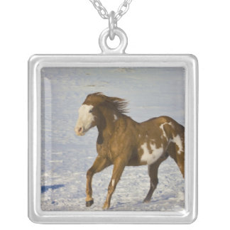 Horse Running in Snow Square Pendant Necklace