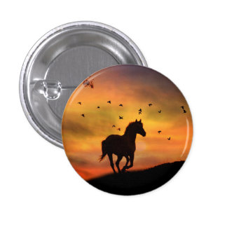 Horse running in the sunset button